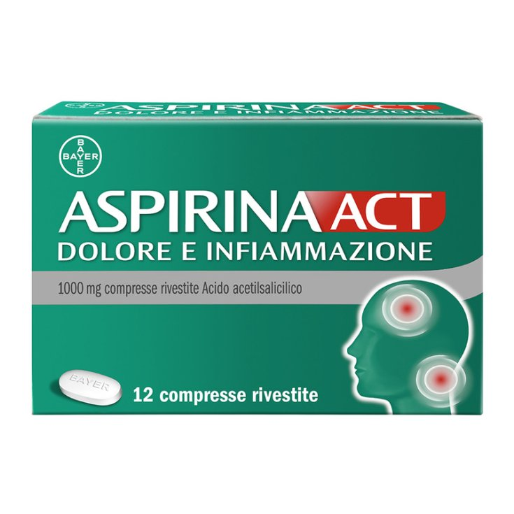 Aspirin Act Pain And Inflammation Bayer 12 Coated Tablets