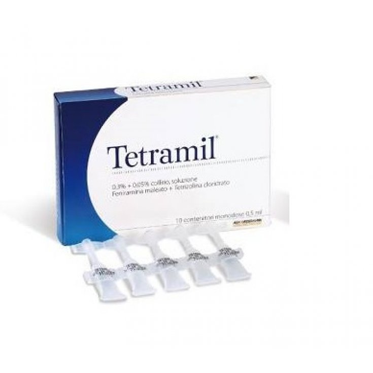Teofarma Tetramil 0.3% + 0.05% eye drops for red eyes Inflamed And Allergic Conjunctivitis 10 Single Dose Vials