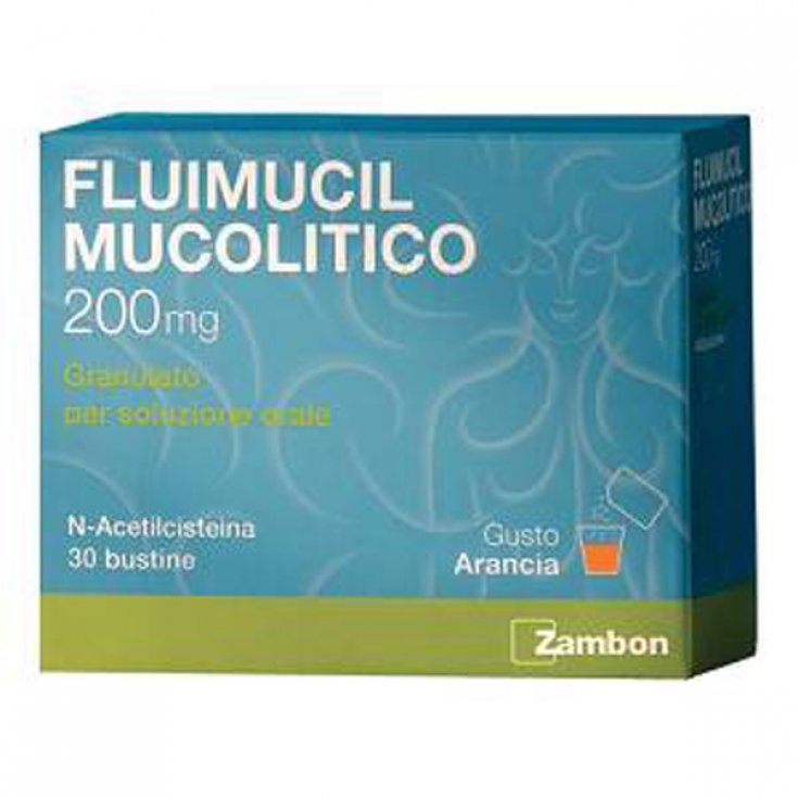 Zambon Fluimucil Mucolytic 200mg Granules Oral Solution Treatment Respiratory Disorders 30 Sachets