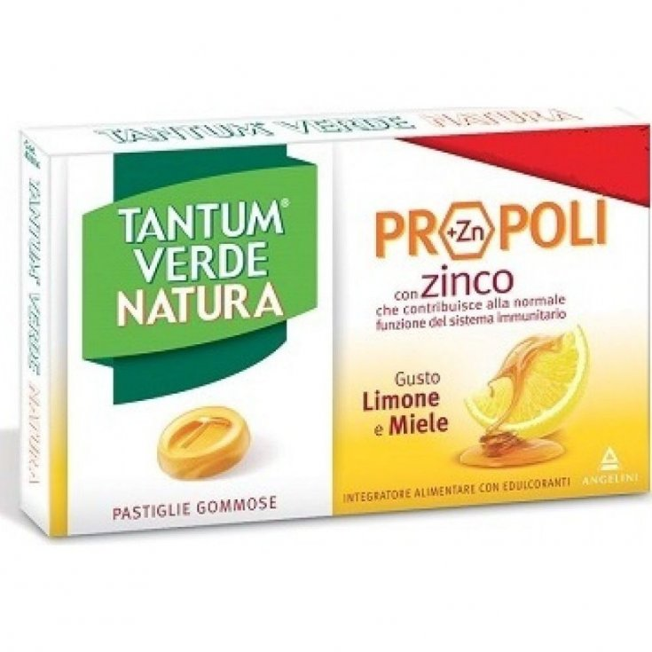 Angelini Tantum Green Nature Propolis + C (+ Zn) Food Supplement Flavor Lemon & Honey Gummy Pads