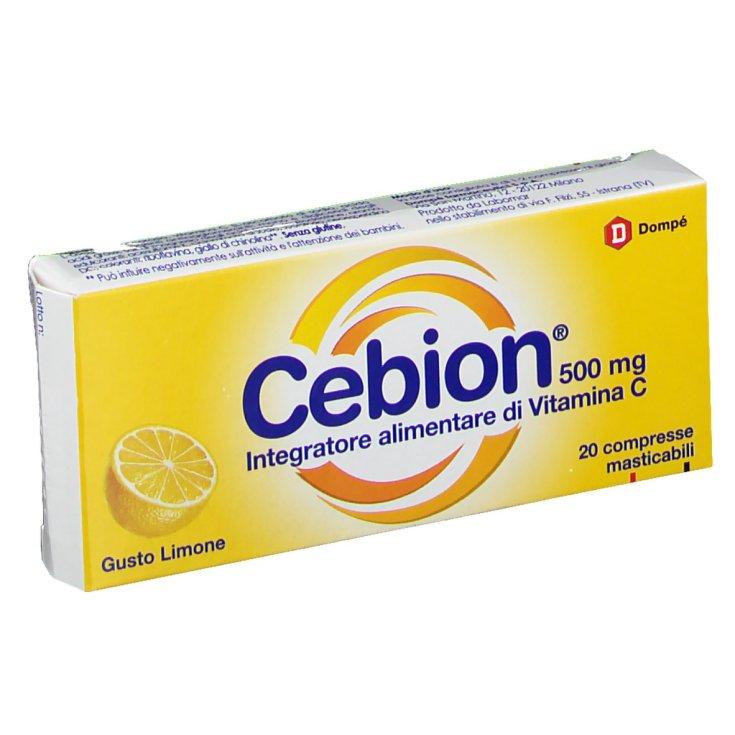 Dompé Cebion 500mg Vitamin C Gluten Free Food Supplement 20 Chewable Tablets Lemon Flavor
