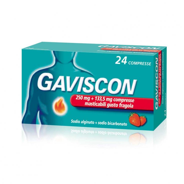 Gaviscon 250mg + 133.5mg Strawberry Taste 24 Chewable Tablets