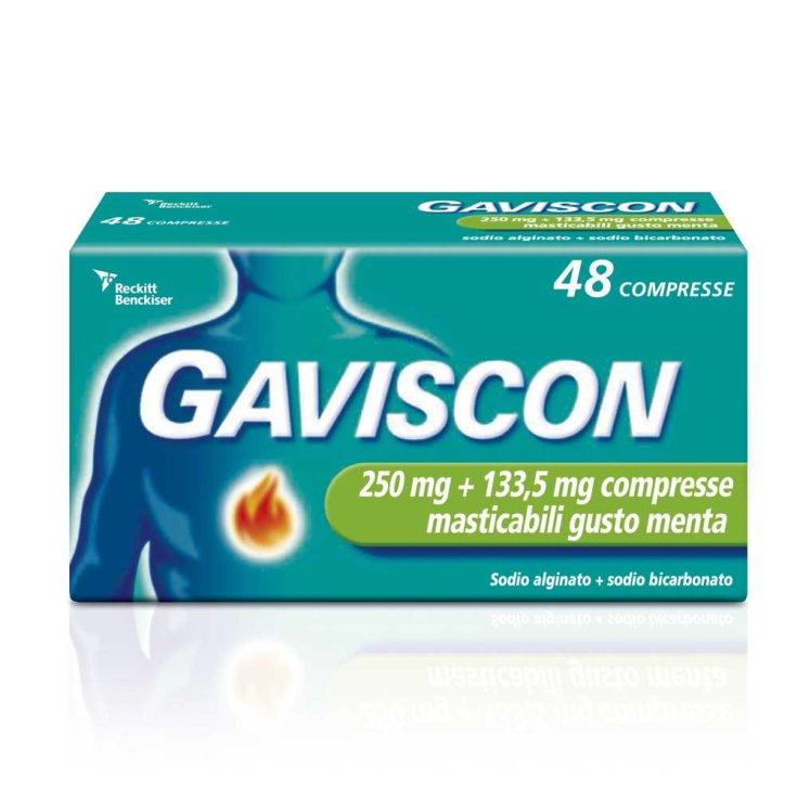 Gaviscon 250mg + 133.5mg Mint Flavor 48 Chewable Tablets