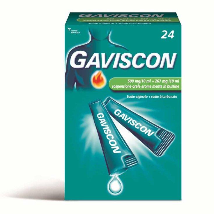 Gaviscon 500 + 267mg / 10ml Mint Flavor Oral Suspension 24 Sachets