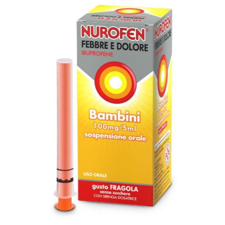 Nurofen® Fever And Pain For Children 100mg / 5ml Strawberry Flavor Sugar Free 150ml