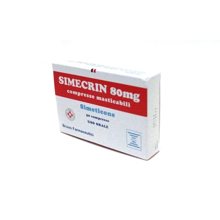 Simecrin 80mg For Abdominal Bloating and Flatulence 30 Chewable Tablets