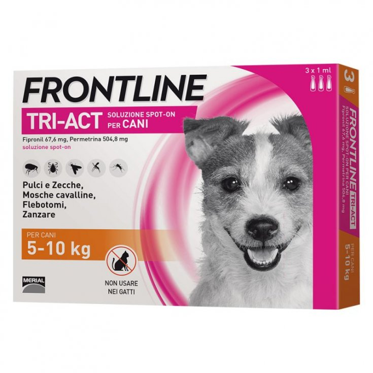Frontline TRI-ACT Spot-On Solution Dogs 5-10Kg 3 Pipettes