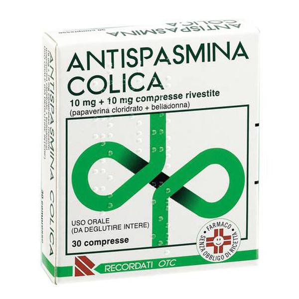 Recordati Antispasmina Colica 10mg + 10mg Trattamento Sintomatico Nelle Manifestazioni Dolorose Apparato Gastro-Enterico 30 Compresse