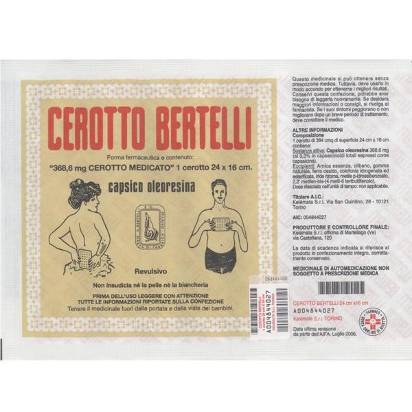 Kel�mata Cerotto Bertelli Grande Uso Topico Per Dolori Articolari E Muscolari Cerotto 16x24cm