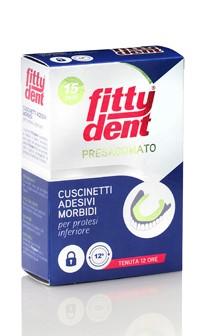 Image of FittyDent Cuscinetti Adesivi Presagomati Protesi Dentali Inferiori 15 Cuscinetti 901656177