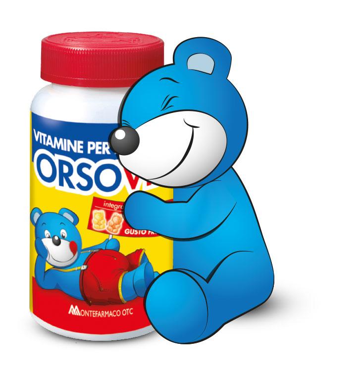 Montefarmaco OTC OrsoVit Integratore Alimentare Bambini Senza Glutine Gusto Frutta 60 Caramelle Gommose