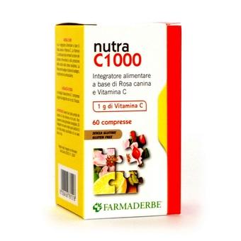 Farmaderbe Nutra C1000 Integratore Alimentare Con Rosa Canina E Vitamina C Senza Glutine 60 Compresse