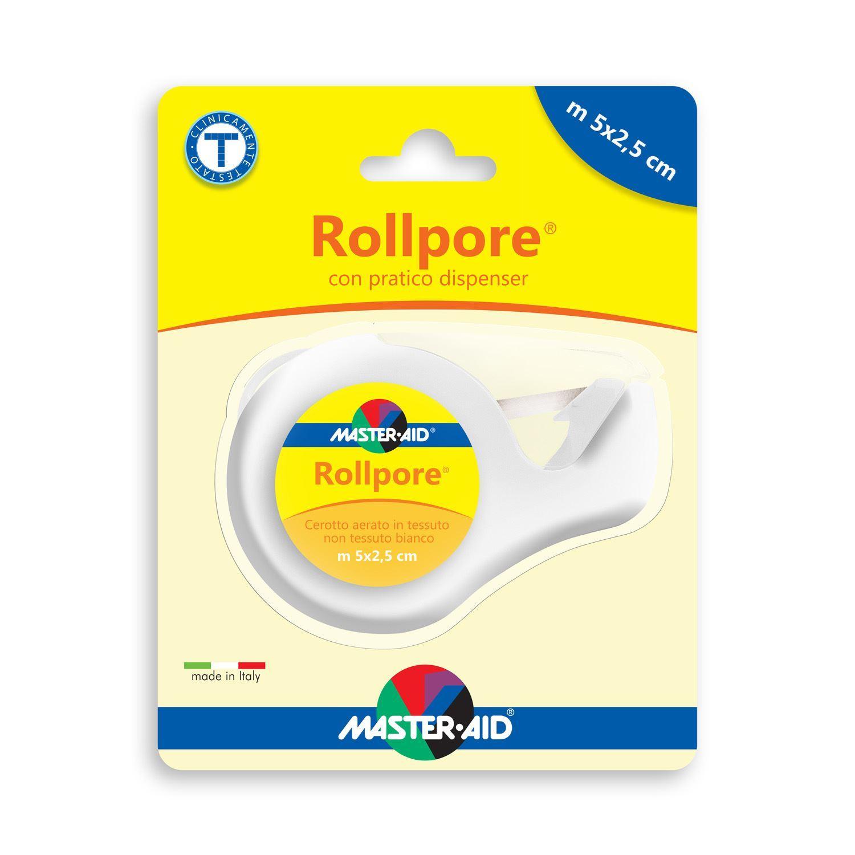 Master Aid® Rollpore® Cerotto Aerato In Tessuto Non Tessuto Bianco Con Pratico Dispenser m 5 x 2,5 cm