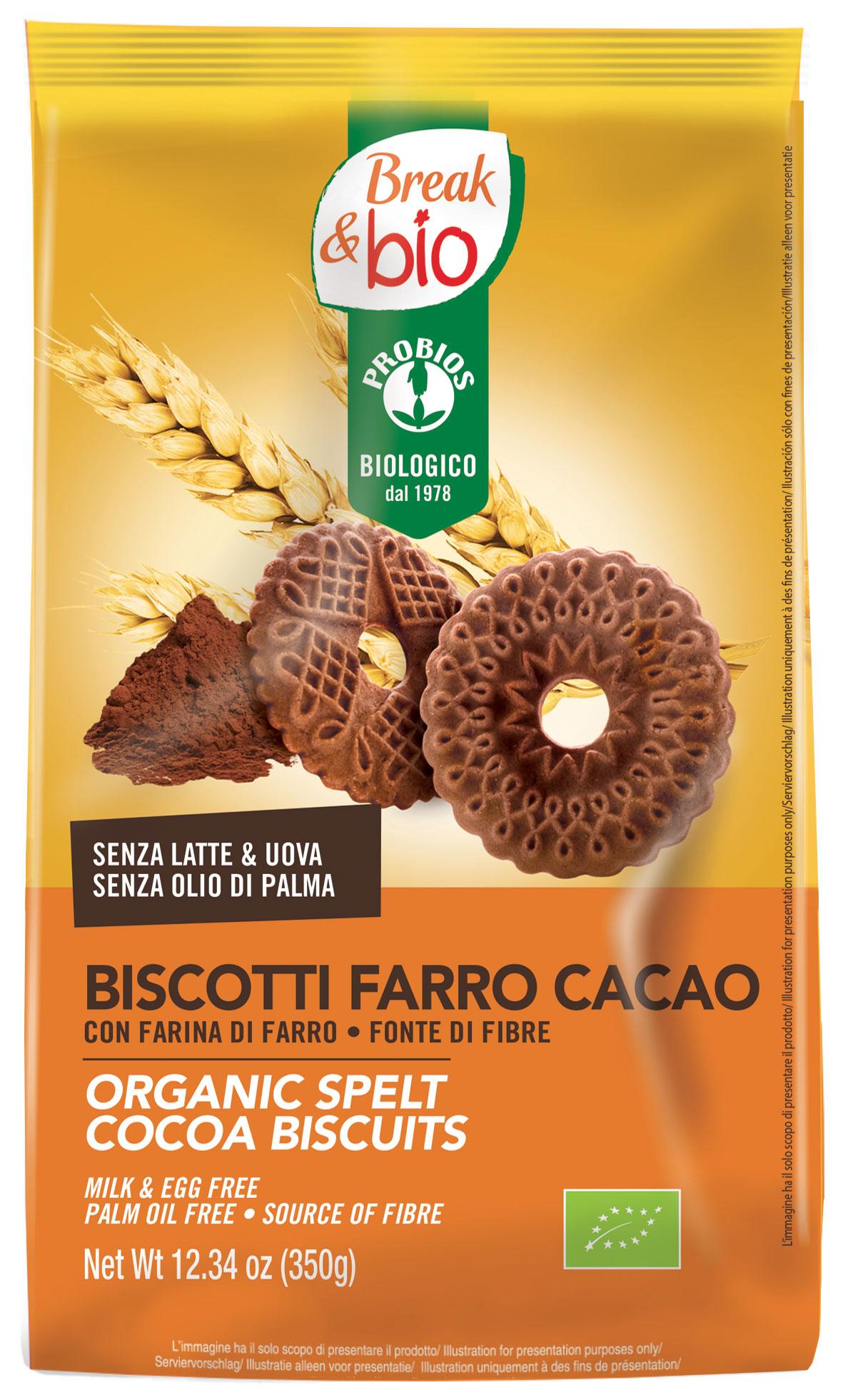 Break&Bio Biscotti Farro Cacao Biologici 350g