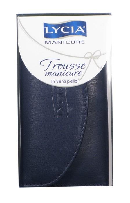 Lycia Trousse Manicure Nera In Vera Pelle