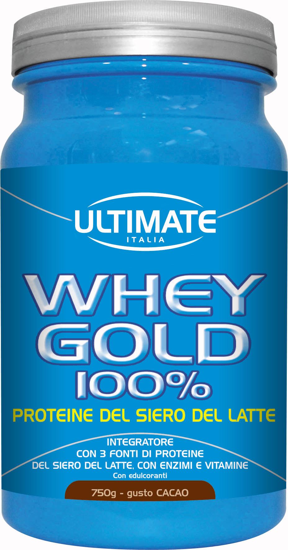 Ultimate Whey Gold 100% Integratore Alimentare Gusto Cacao 750g