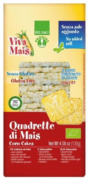 Viva Mais Quadrette Mais Senza Sale Biologiche 130g