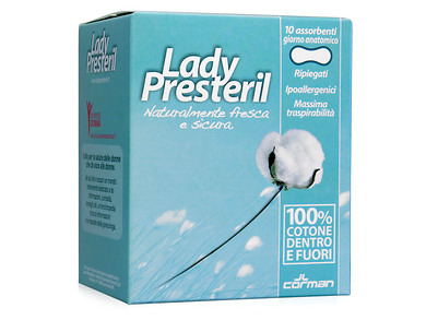 Lady Presteril Cotton Power Assorbenti Anatomici In Cotone 10 Pezzi