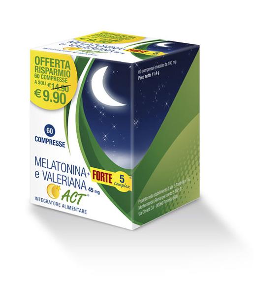 F&F Melatonina ACT + Forte 5 Complex E Valeriana Integratore Alimentare 60 Compresse