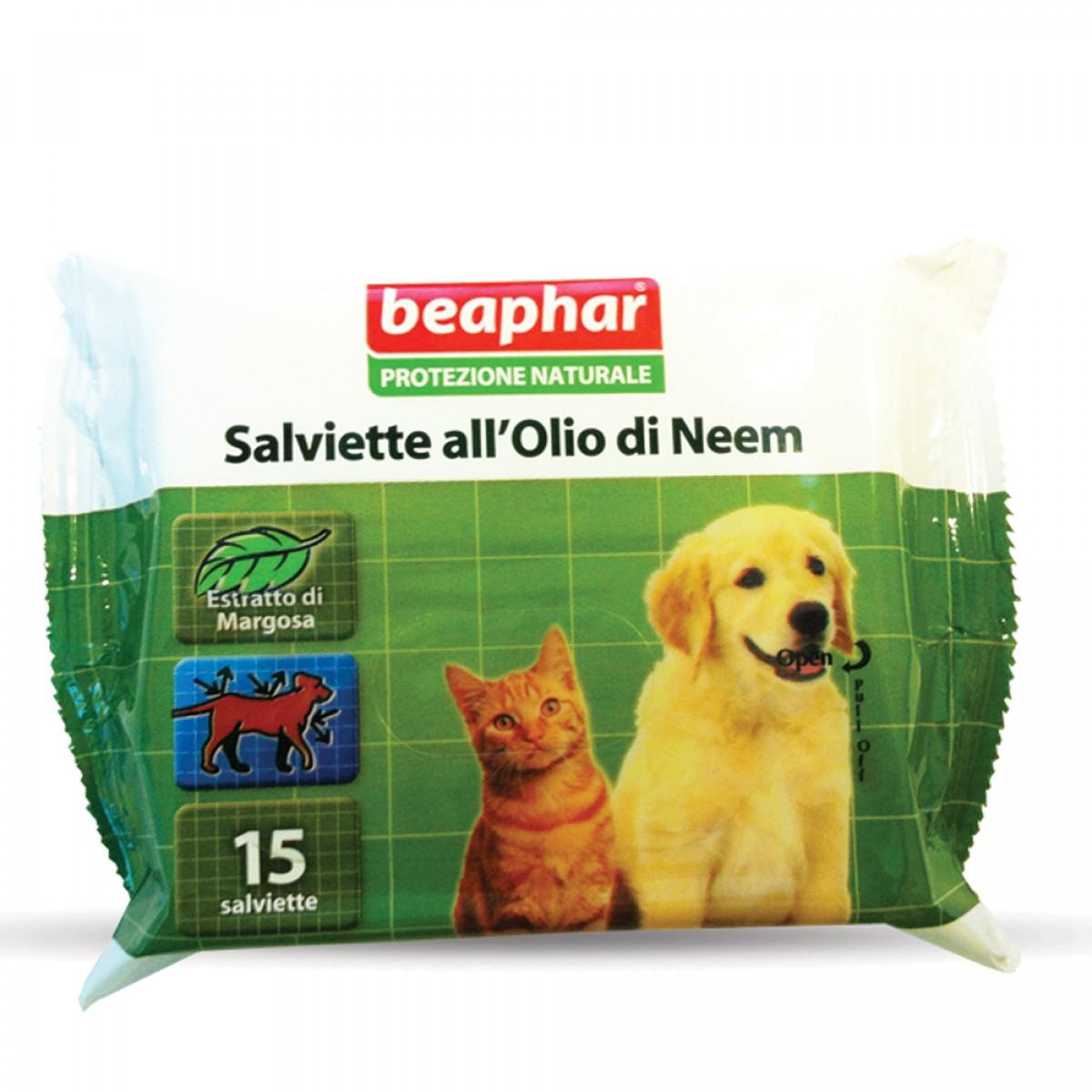 Image of Beaphar Protezione Naturale Salviette All'Olio Di Neem 15 Pezzi 924548997
