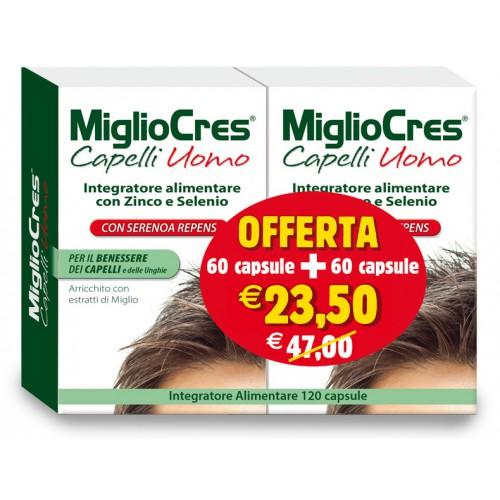 F&F MiglioCres Linea Capelli Uomo Integratore Alimentare 60 + 60 Capsule Promo