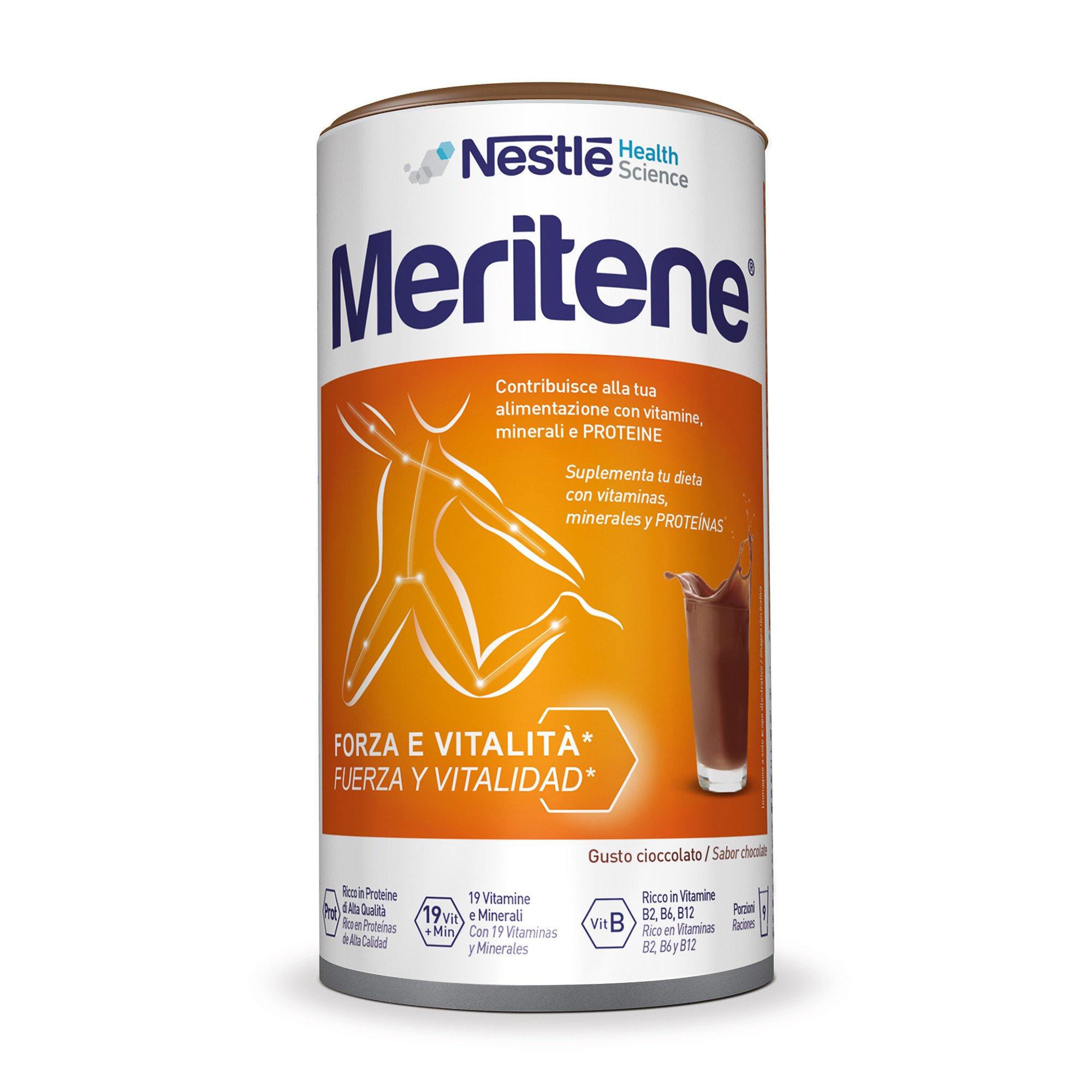 Nestlé Health Science Meritene Forza e Vitalità Polvere Cioccolato Integratore Di Proteine Vitamine E M