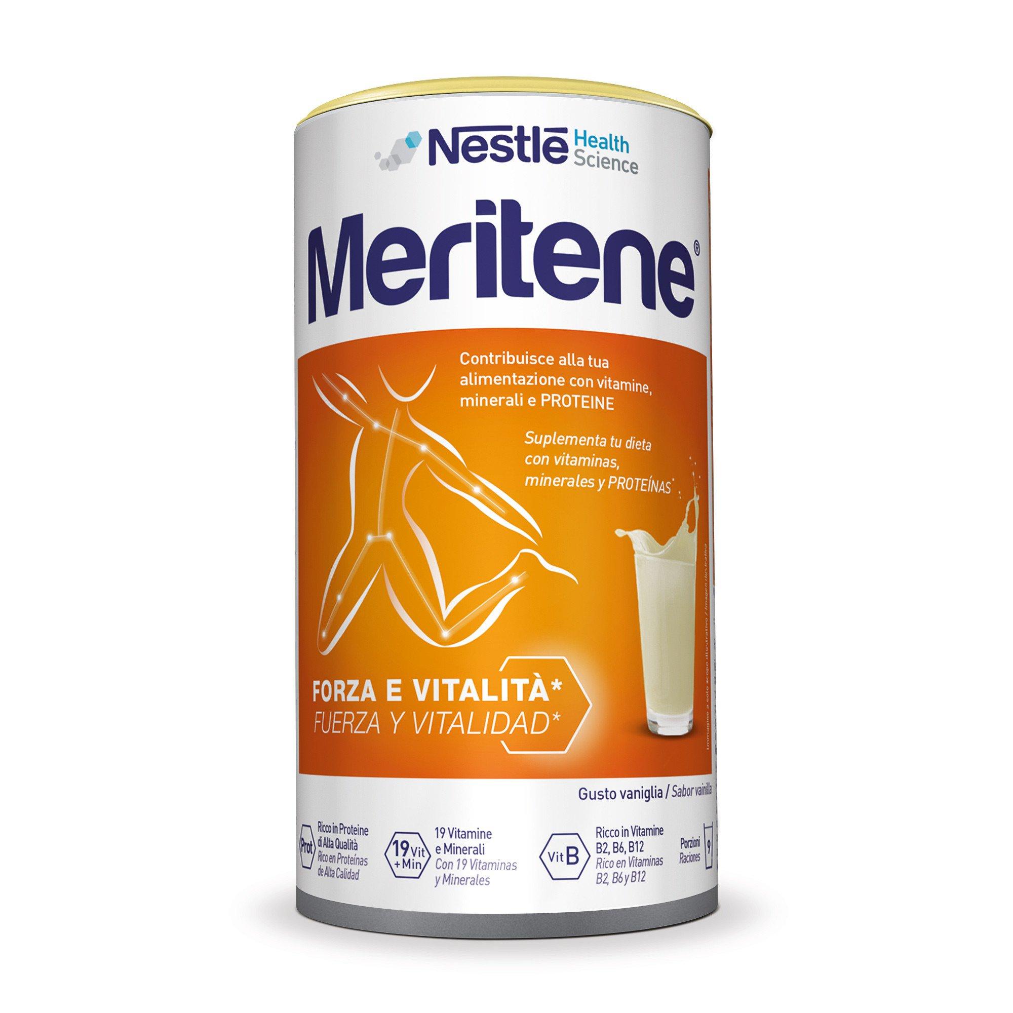 Nestlé Health Science Meritene Forza e Vitalità Polvere Vaniglia Integratore Di Proteine Vitamine E Min