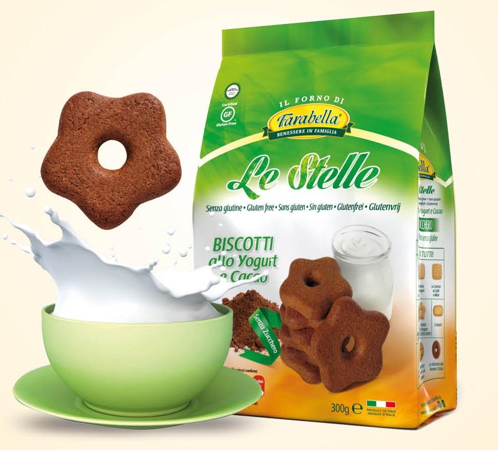 Farabella Le Stelle Yogurt E Cacao Biscotti Senza Zucchero Senza Glutine 300g