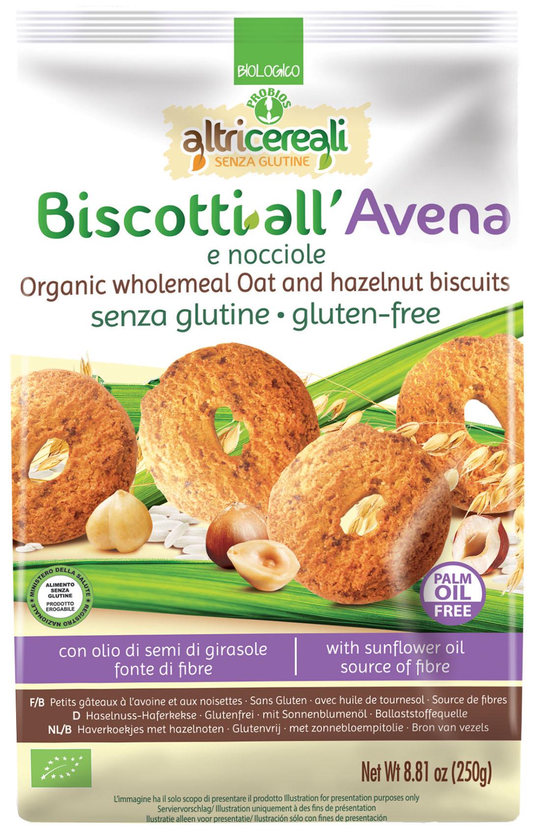 Image of AltriCereali Biscotti Di Avena E Nocciole Senza Glutine 250g 927143370