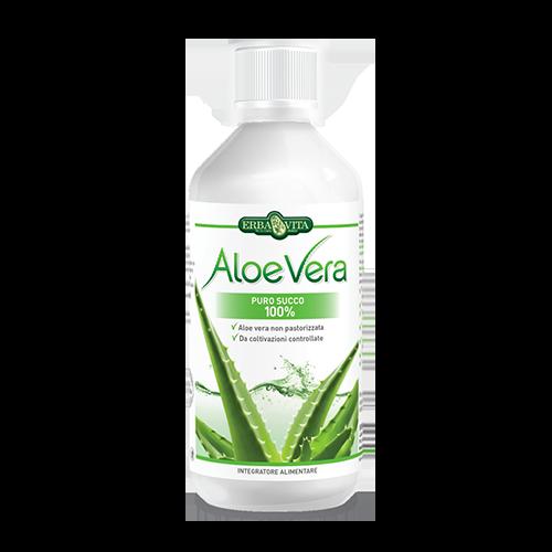 ErbaVita Aloe Vera Uso Interno Aloe Vera Puro Succo 100% Integratore Alimentare 500ml