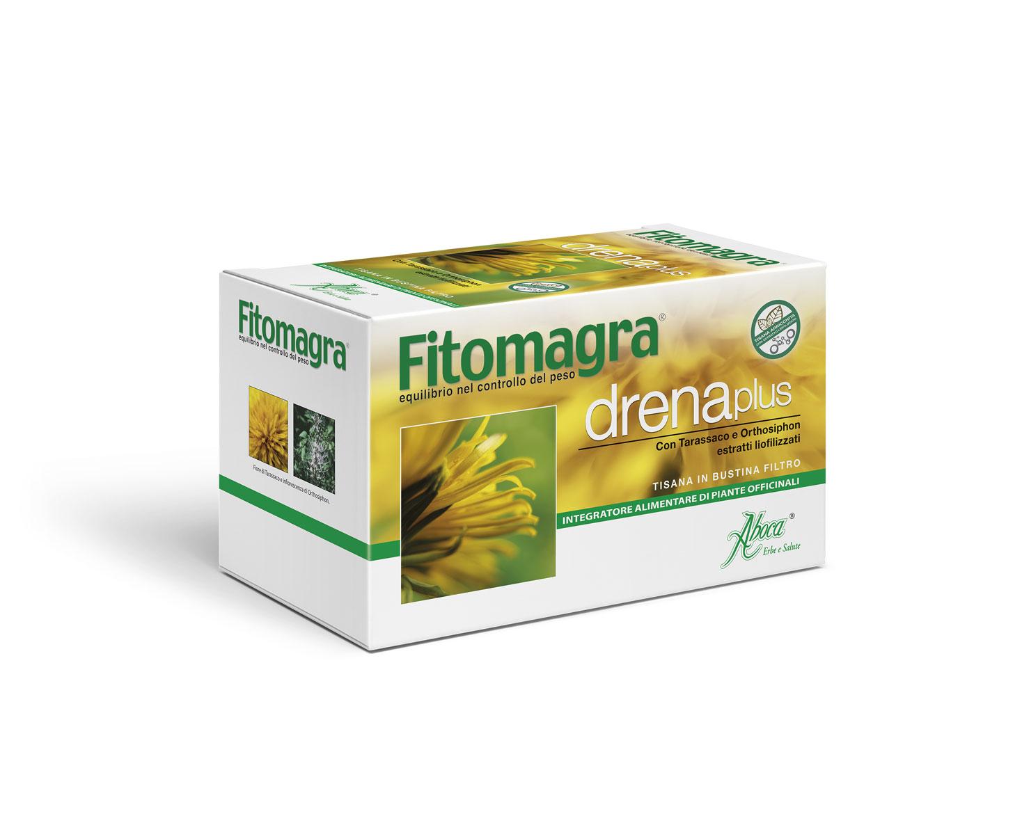 Aboca Fitomagra Drena Plus Tisana Integratore Alimentare 20 Bustine Da 2g
