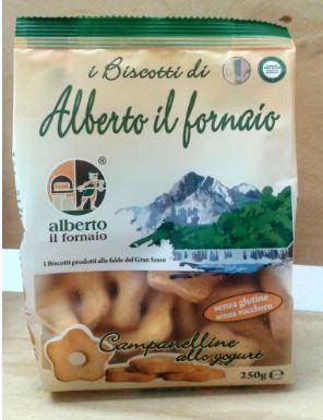 Image of Alberto Il Fornaio Campanelline Allo Yogurt Frollini Senza Glutine 250g 935550576