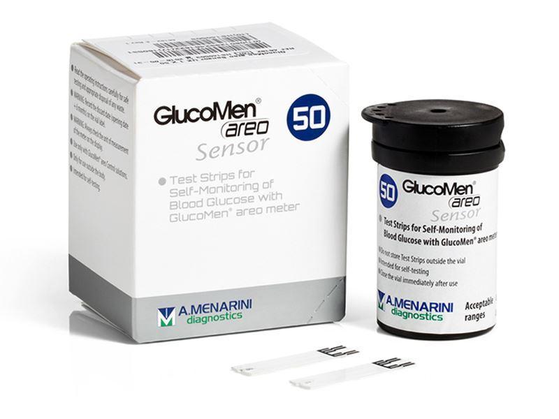Image of A. Menarini Diagnostics GlucoMen Areo Sensor Strips Per La Misurazione Del Glucosio Nel Sangue 50 Pezzi
