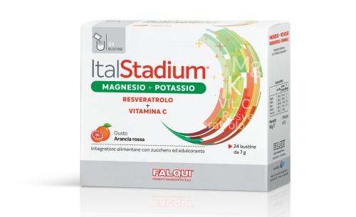 Image of Falqui Italstadium Magnesio+Potassio Reveratrolo+Vitamina C Integratore Alimentare Gusto Arancia 24 Bustine 942039405