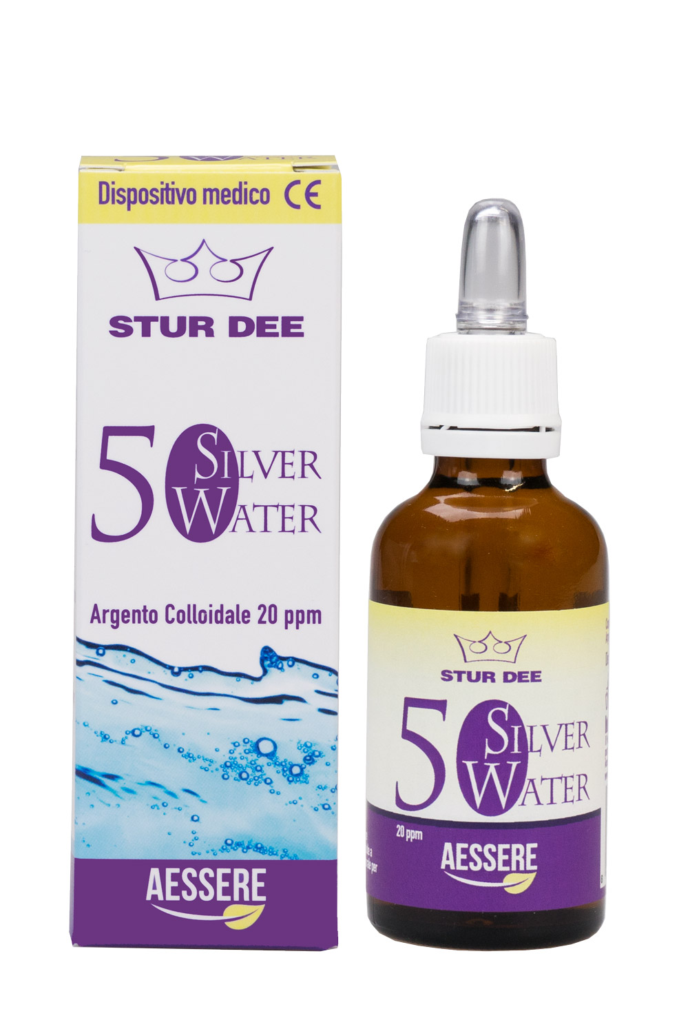Image of Aessere Stur Dee - Silver Water Argento Colloidale 20ppm 100ml 973993494