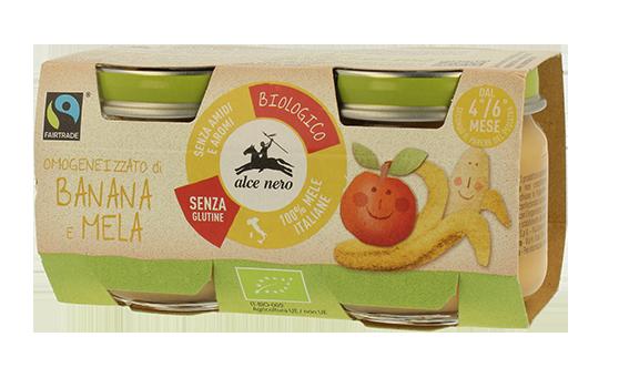 Image of Alce Nero Omogeneizzato Banana E Mela Biologico 2x80g 975063785