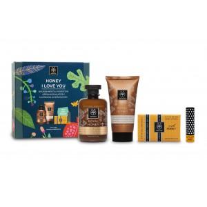 Image of Apivita Honey I Love You Creamy Shower Gel & Rich Moisturizing Body Cream + FREE Natural Soap & Eco-Bio Lip Care 976006700
