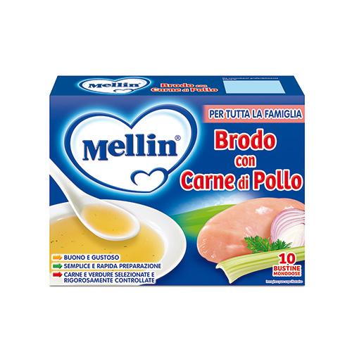 Brodo Con Carne Di Pollo Mellin 10 Bustine Da 5g