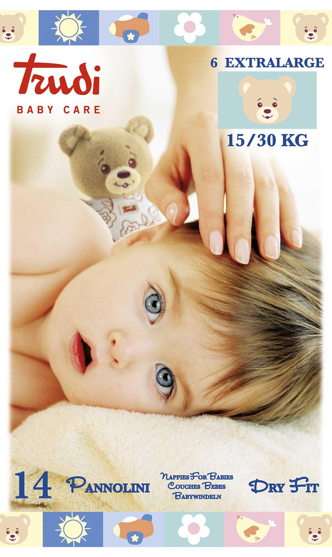 Image of Pannolini Dry Fit Taglia XL 15/30kg Trudi Baby Care 14 Pannolini