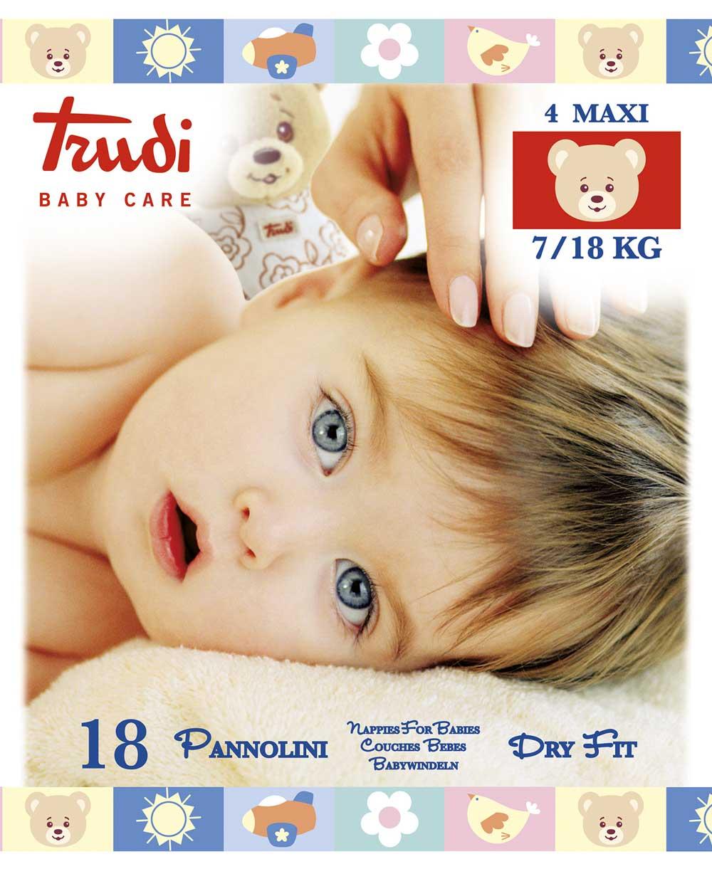 Image of Pannolini Dry Fit Taglia Maxi 7/18kg Trudi Baby Care 18 Pannolini