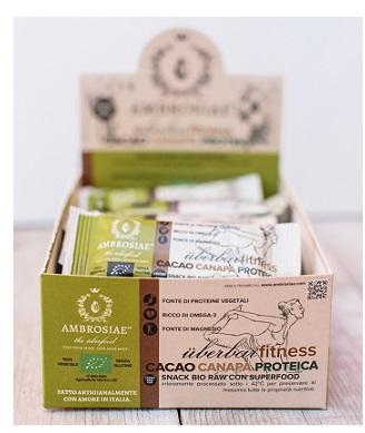 Image of UberBar Fitness Ambrosiae Barretta Proteica Cacao Canapa 20 Barrette 971247224