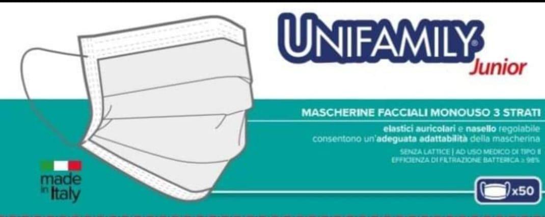 Image of Mascherina Chirurgica Junior Unifamily 50 Mascherine
